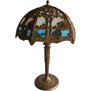 Empire Ornate Scenic 12 Panel Slag Glass & Bronze Table Lamp