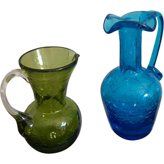 Pilgrim Glass Small Crackle Glass Pitchers in Turquoise & Green