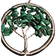 Sterling and Malachite Tree of Life Artisan Pendant