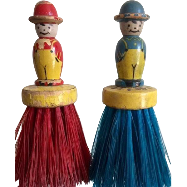 Primitive Folk Art Figural Whisk Broom/ Clothes Brushes