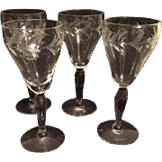 Depression Era Lightly Cut Sherry/Cordial Glasses