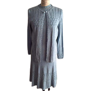 Picardo Knits Robin's Egg Blue 2 Piece Dress Set with Cardigan