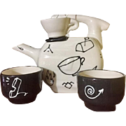 Ultra Modern Tea Set with Cartoon Graphics in Black and White, Artist Signed, circa 1980's