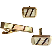 Mother of Pearl & Abalone Shell Geometric Cuff Link and Tie Bar Set