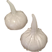 Murano Glass White Opaque Garlic Bulbs, circa 1980's