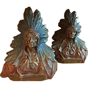 Bronze Clad Native American Indian Bookends by Armour, Circa 1930's