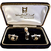 Hiroshima Japanese Pearl & Silver  Cufflink and Tie Bar Set, circa 1960's