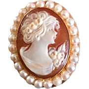 Antique Cameo Brooch/Pendant Sardonyx Stone/14 Karat Gold/Cultured Pearl Halo
