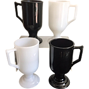 Fire King Pedestal Irish Coffee Cups Set of 4 in Black & White