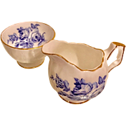 Aynsley Blue Peony # 28 Design Open Sugar & Creamer Set with Gold Trim