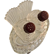 Turkey Tail Vintage Glass Salt & Pepper Set with Base