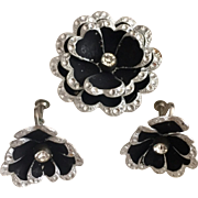 Black Aluminum Brooch & Clip Earring Vintage Set from Germany