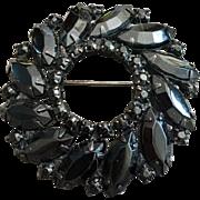 Vintage Black Marquis Crystal Garland Brooch