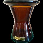 Jens Quistgaard Dansk MCM  Amber Glass Candleholder with original tag