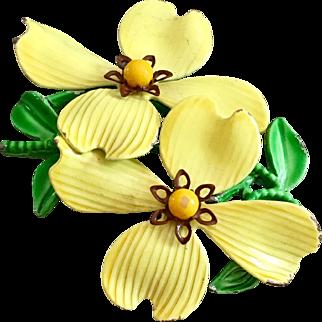 Retro Enamel Flower Brooch in Bright Yellow, circa 1950's