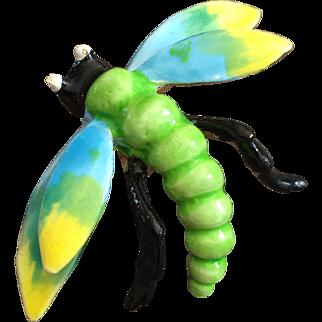 Colorful Enamel Dragonfly Pin circa 1960's