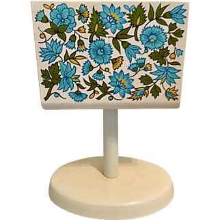 Atomic Age Napkin Holder - 1950's Turquoise Flower Print - Made in Japan by Seven Seas
