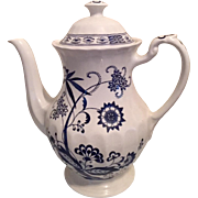 J G Meakin China Blue Nordic Large Tea/Coffee Pot English China, Classic White