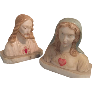 Pair Sacred Heart of Jesus and The Immaculate Heart of Mary Soapstone Vintage Busts, Italy.