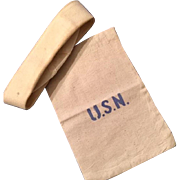 WW2 USN Dixie Cup (Cracker Jack)  Hat  and Small Sack