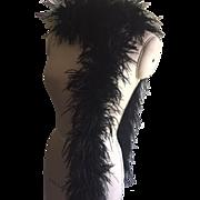 Vintage Ostrich Feather Black Boa, circa 1950's