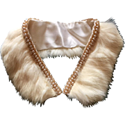 Vintage Angora Rabbit Fur Collar trimmed in Champagne Rice & Round Faux Pearls