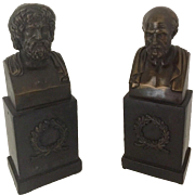 Bronze Busts of Aristotle and Socrates Bookends