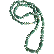 Aventurine in Dark Jade-Green Color Vintage  Necklace with Brass Spacer Beads