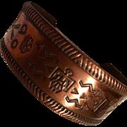 Vintage Native American Solid Copper Cuff Bracelet