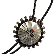 Signed Zuni Chief Sterling Silver Bolo with Inlaid Stones