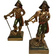 Signed Paul Herzel Pompeian Bronze Clad Pirate Bookends, Circa 1920's