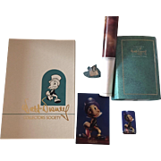Walt Disney Charter Membership Kit 1993 Jiminy Cricket Figurine,Pins,Postcard,Folio, COA plus Poster