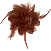 Vintage Handcrafted Fascinator  Brooch  Hair Adornment in Chocolate Brown
