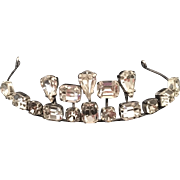 Hand Crafted Tiara of Swarovski Clear Crystal Prong Set Silver Plate
