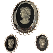 Black Glass Intaglio Brooch and Clip Earring Set