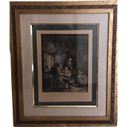 Antique Etching of Peasant Family,  August 5, 1921  Hurst, Robinson & Co (late Bordell)