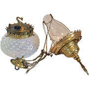 Hobbs Antique Opalescent Pendant Kerosene/Oil Lamp