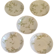 Limoges Green Dogwood Set of 5 Fruit Bowls, Haviland Limoges France
