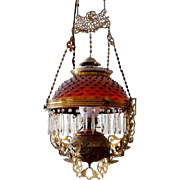 Victorian Hobnail Cranberry Glass Chandelier