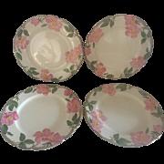 Set of 4 Franciscan Desert Rose Dinner Plates, TV Hallmark, Circa 1958-62