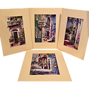 Victoria Platt Ellis Hand Lithographs, Set of 4