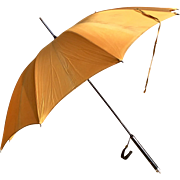 1940's Soft Gold Cloth Umbrella with Painted & Gilded Handle