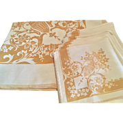 "Gold and Ivory 1940's ""New"" Vintage Table Cloth & Napkin set"