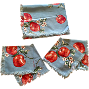 "Blue Apple Blossom Print 1950's ""New"" Card Table Cloth & Napkin Set"