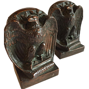American Eagle Antique Copper clad perched on a History book signed by Riley, circa 1910