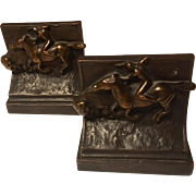"Pompeian Bronze Rare ""Buffalo Hunt""  Bookends"