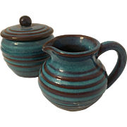 Vintage Racliffe Blue Hill Pottery Sugar & Creamer in Turquoise and Brown