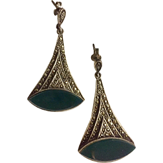 Vintage  Art Deco Inspired Sterling Silver Marcasite & Enamel Pierced Earrings