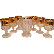 Mid Century Tiffin Kings Crown Gold Flashed Thumbprint Pitcher and Goblets