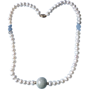 Jadeite and Cultured Pearl Necklace with 14 karat gold beads and clasp by Epiphany